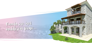 Foça'da satılık bahçeli havuzlu taş ev villa